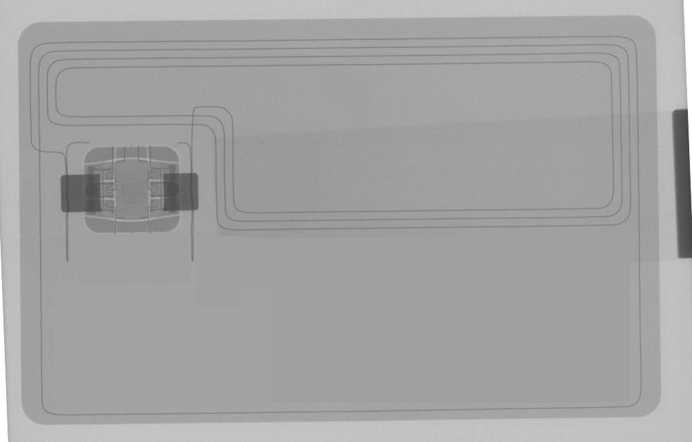 Röntgen-scan of a debet card with wireless payment capabilities